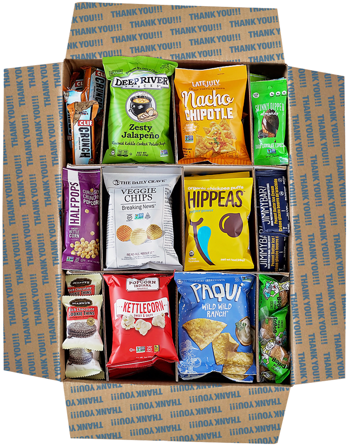 Top view of large corporate snack gift box
